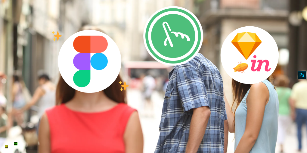 Distracted boyfriend meme with Fuzzy MAth as the boyfriend, Sketc, Zeplin and InVision as the girlfriend and Figma as the girl walking by.