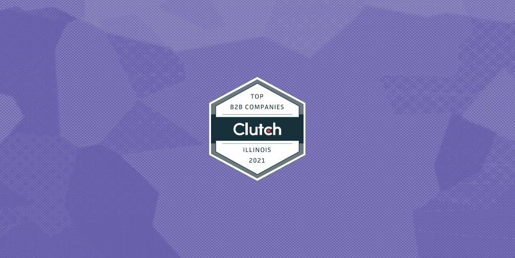 Clutch.co badge for Top B2B Companies in Illinois for 2021 on purple background