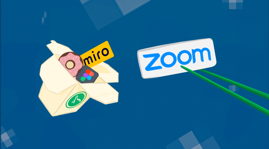 Takeout container with donut, Miro logo, and Figma logo coming out. Zoom logo is being held between two green chopsticks.