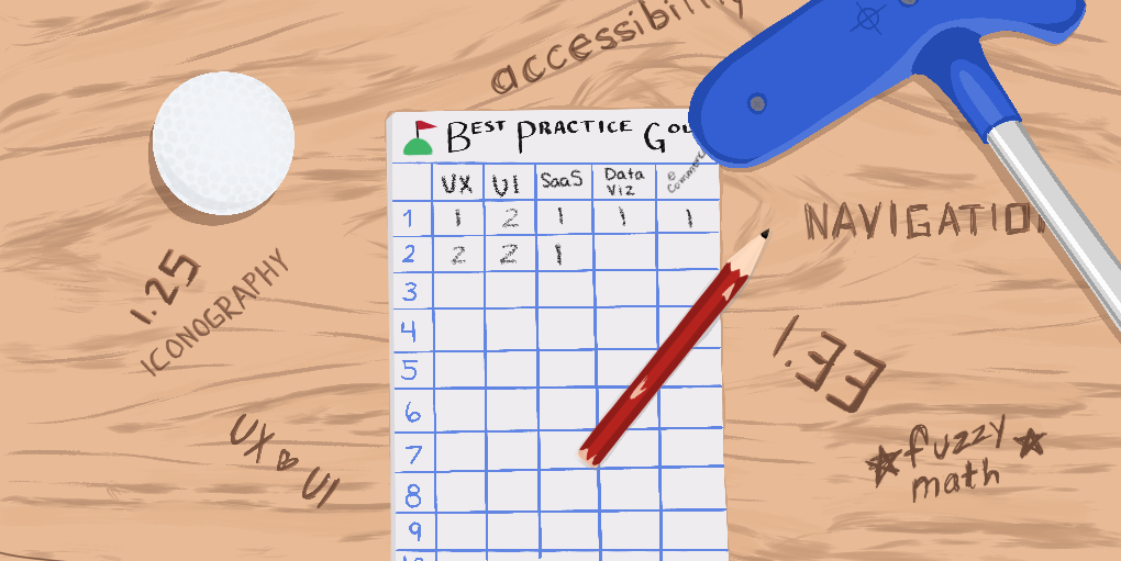 Top view image of a mini golf scorecard with a golf ball, club, and some etchings in the wooden table they lie on.