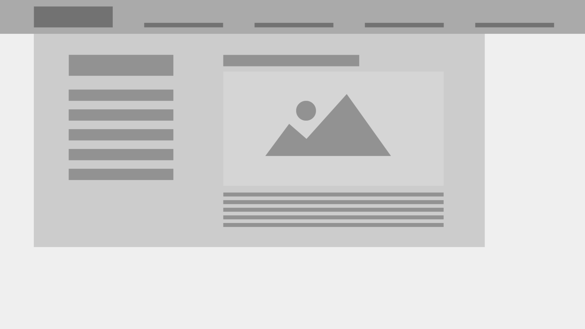 A wireframe image is shown that represents a low fidelity mega navigation. The left side symbolizes different page options the user can go to and the right side shows a highlight that includes an image.